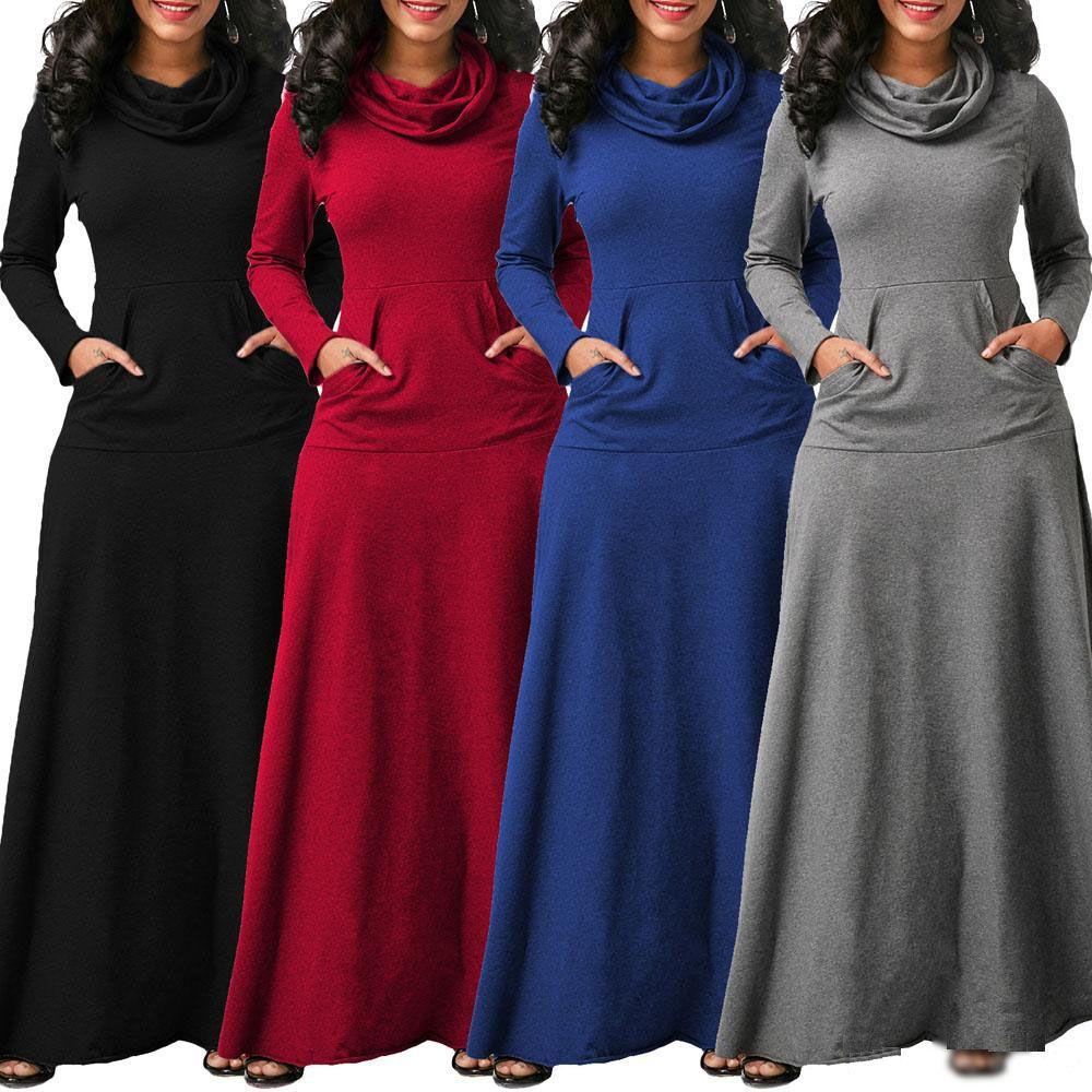 Grosshandel Frau Lassig Wasserfallausschnitt A Line Tasche Lang Maxi Kleid Damen Langarmelige Kleider Von Firststop998 14 58 Auf De Dhgate Com Dhgate