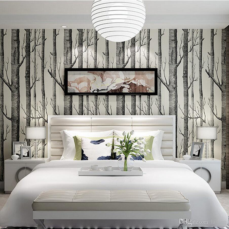 Wholesale Birch Tree Wallpaper Roll Non Woven Wood Pattern Wall Paper Wallcovering Mural Living Room Bedroom Decor Calssic Black White High Resolution