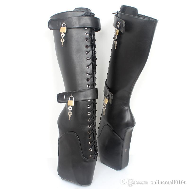18 سنتيمتر المتطرفة عالية الكعب صنم مثير أسافين الدانتيل متابعة إبزيم heelless الباليه أحذية للجنسين أحذية الركبة عالية