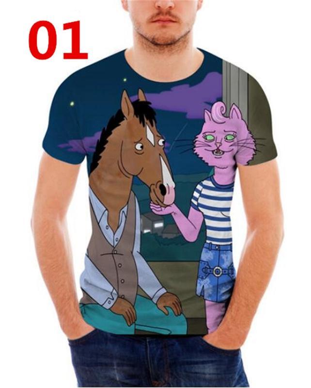 Bojack Horseman 3D Drukowane Kobiety / męskie Krótkie Rękawy Koszulki N02