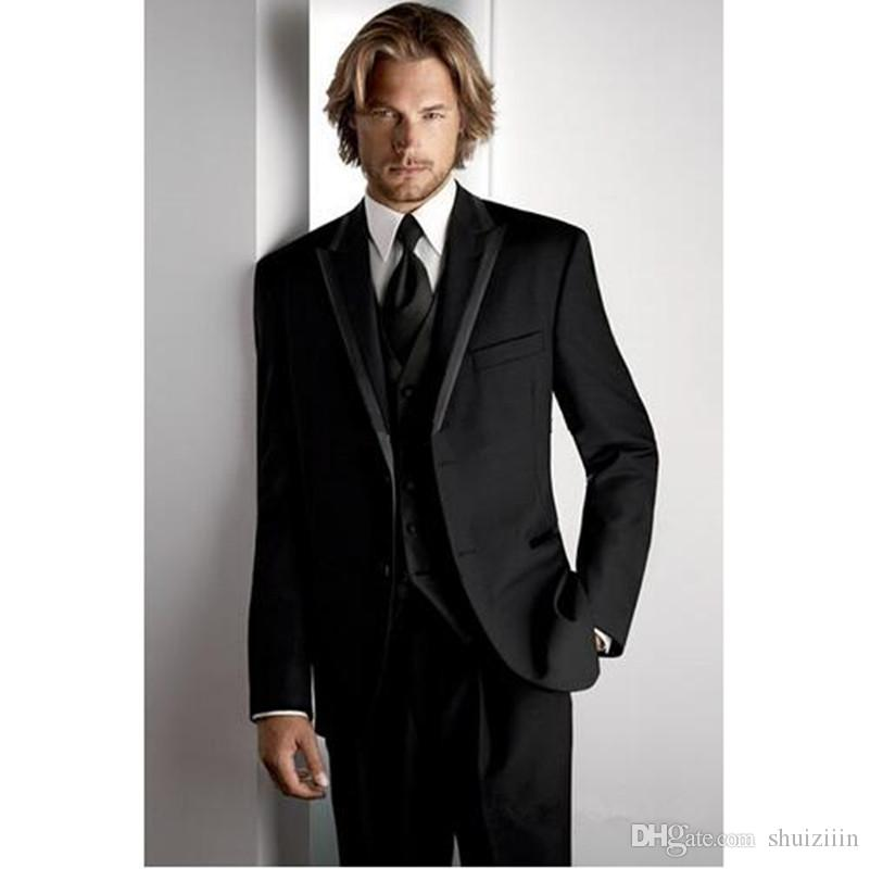Custom made Black Formal Men Suit Three Pieces Best Wedding Suits for Men Groom Prom Tuxedos (jacket+Pants+vest)