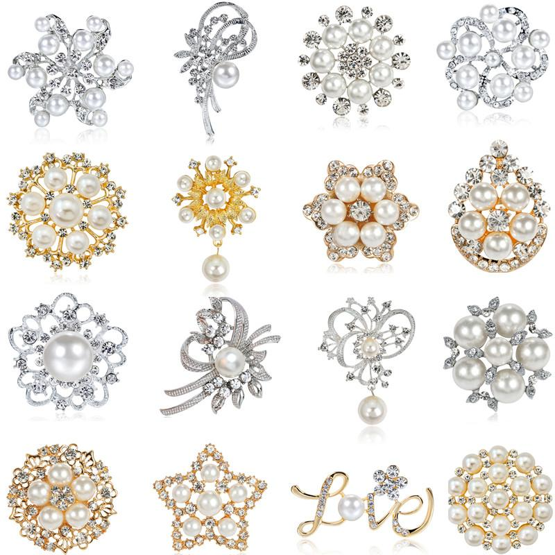 2019 New Wedding Imitation Pearl Brooches Gold Silver Rhinestone Star Flowers Love Brooches For Engagement Party