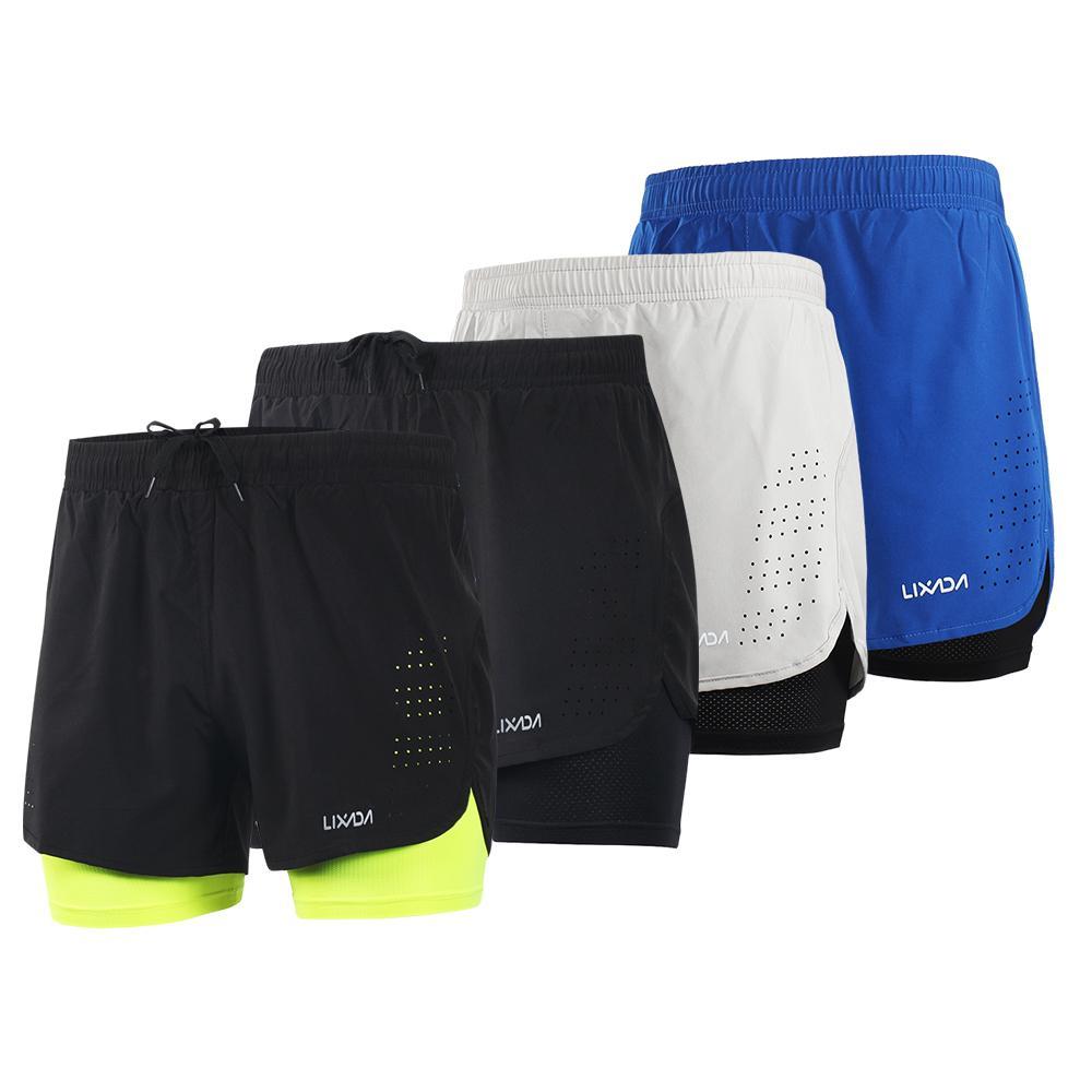 2020 Lixada Men 2-in-1 Pantaloncini da corsa di secchezza rapido respirabile Palestra Sport Pantaloncini Training esercizio jogging in bicicletta