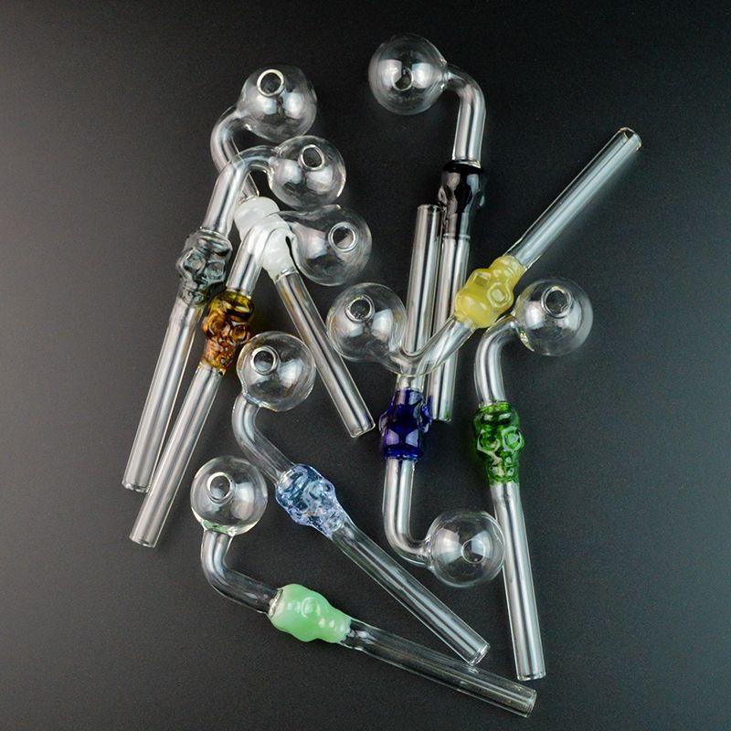 해골 미니 파이렉스 석유 버너 유리 파이프 다채로운 유리 흡연 파이프에게나 솔직하게 튜브 스푼 파이프 SW21
