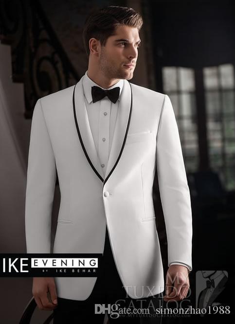 2018 New Fashion White Jacket abito da sposa uomo abiti firmati scialle risvolto business wedding party uomo abiti con pantaloni migliore uomo sposo smoking
