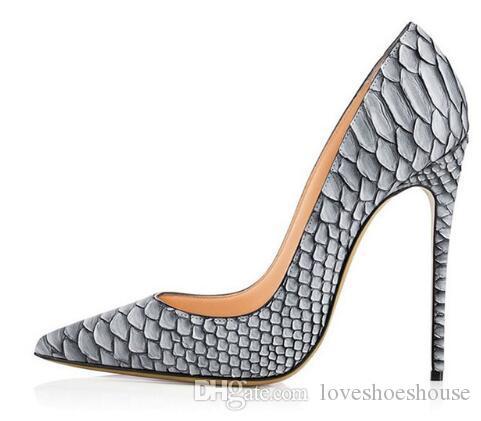 Zapatos de fiesta sexy para mujer Python gris dedo del pie puntiagudo bombas de tacón alto Patrón de serpiente blanca Tacones de boda Resbalón en los zapatos de corte estilete