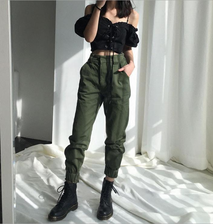 watch arrives new high 2019 High Waisted Jogging Green Pants Street Suit Punk Black Overalls  Leggings From Yangshunmei, $52.97   DHgate.Com