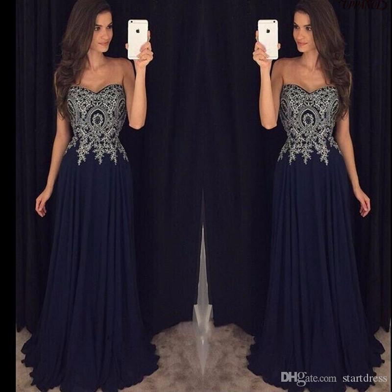 Simple Navy Blue Sweetheart Chiffon Prom Dresses Appliques Floral Modest Floor Length 2018 Party Evening Wear For Women Cheap From China