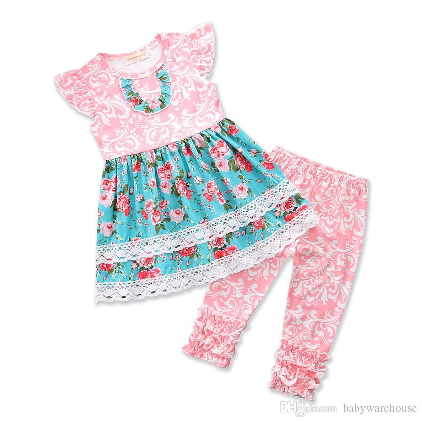 Floral Kids Clothing Sets Baby Girls Flower Long Tops Dress + Ruffle Leggings Pants 2PCS Girls Set Summer Children Clothing Girls Clothes