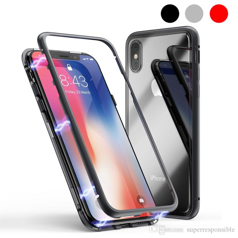 Magnetic Adsorption Metal Phone Case for iPhone Xr Xs X samsung s10 plus Full Coverage Aluminum Alloy Frame with Tempered Glass Back Cover