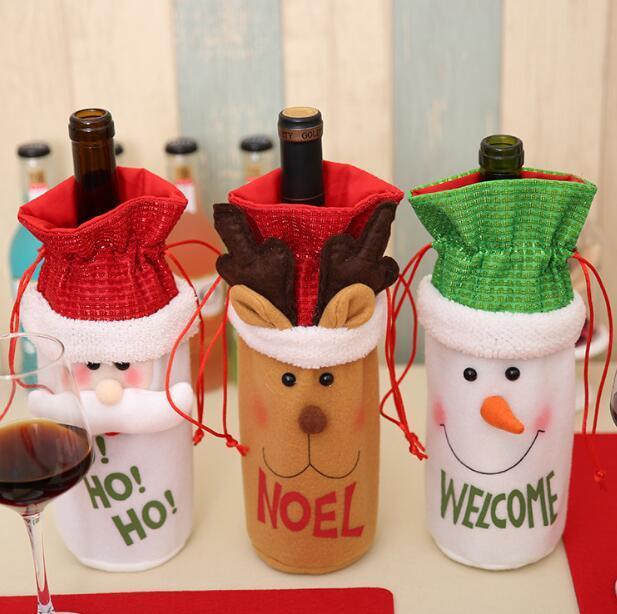 Santa Claus czerwone wino butelka torby torby słodkie Boże Narodzenie Nowy Rok uchwyty prezent obiadowy dekoracji