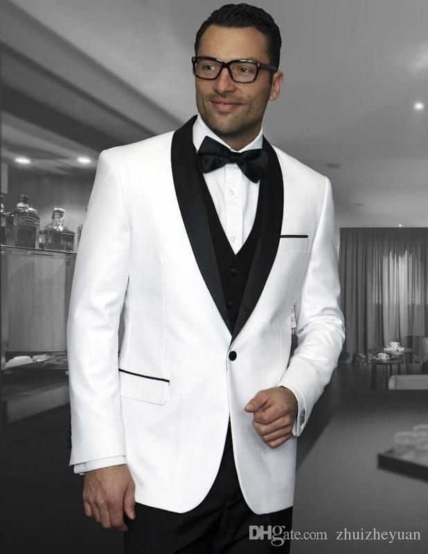 Fashion Black White Wedding Tuxedos Slim Fit Suits For Men Groomsmen Suit Cheap Prom Formal Suits(jacket+pants+vest)