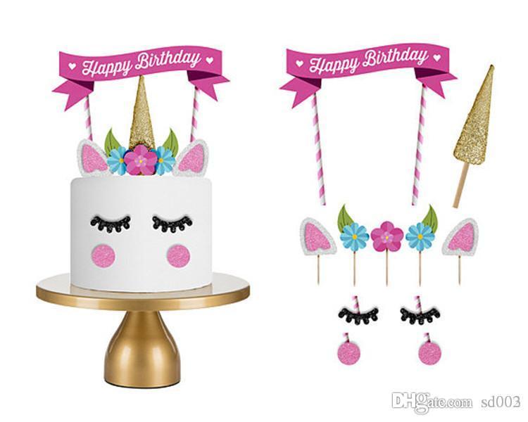Banderas del unicornio ornamento de dibujos animados feliz cumpleaños Torta de los artículos Unicornio lindo partido fuentes de las decoraciones Herramientas Eco Friendly ZZ 2 7HY