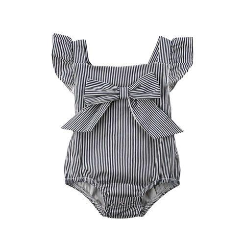 Neugeborenes Baby Mädchen Bowknot Bodys Striped Baumwolle Mädchen Kleidung Platz Kragen Sommer Nette Overall Backless Kleidung Outfits