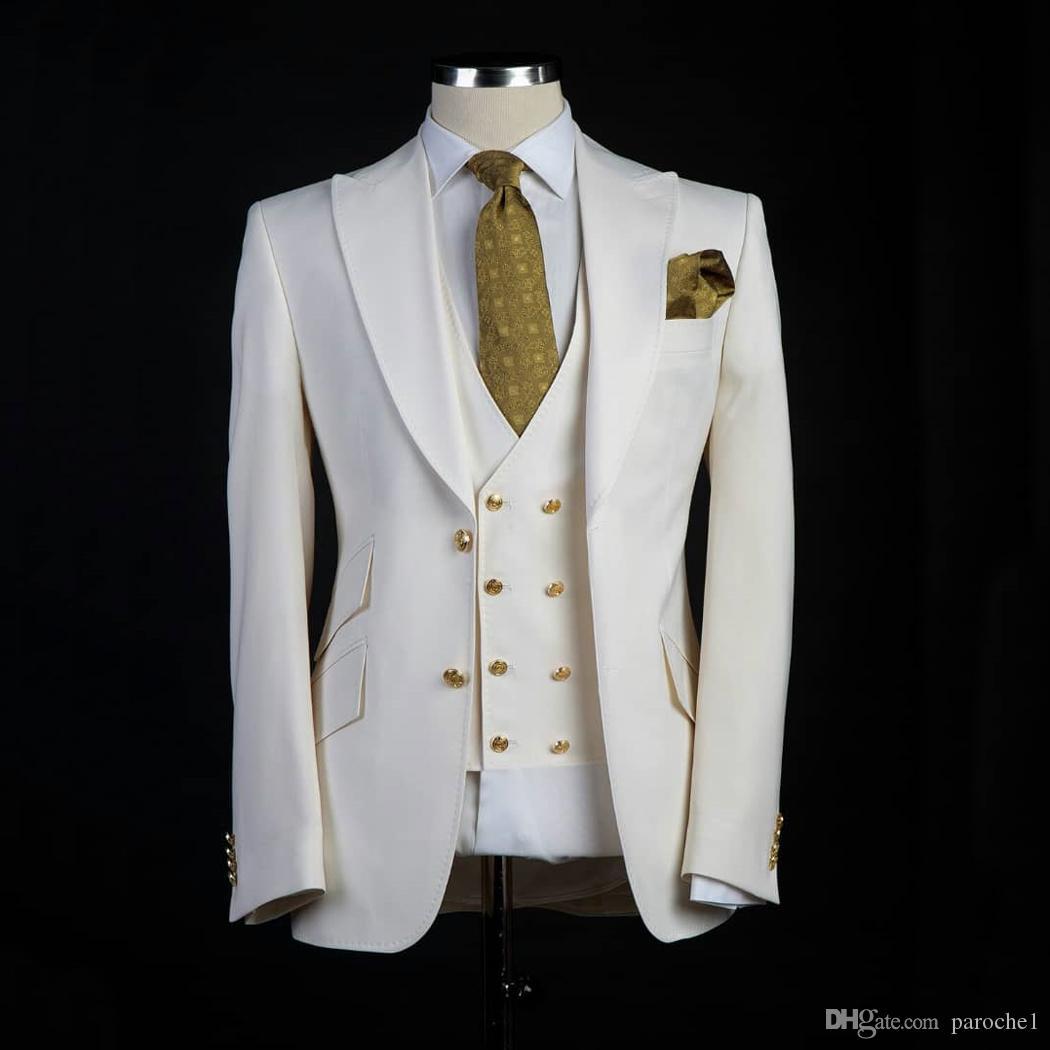 Stile classico smoking dello sposo Big Pesked risvolto Testimone dello sposo vestito bianco Blazer come abito da sposa Custom Made Man Giacca + pantaloni + gilet