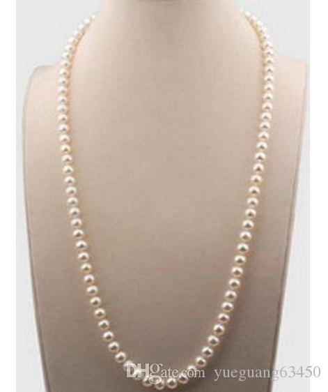 Gorgeous 22 Inch 7-8mm Natural South Seas White Pearl Necklace 14k Gold Clasp