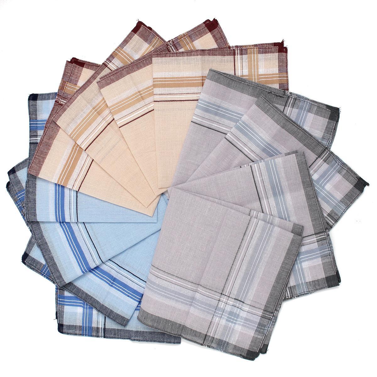 12pcs/lot Men Plaid Square Handkerchiefs, 36x36cm Cotton Soft Vintage Men's Business Suit Pockets Handkerchief Male Grid Hanky