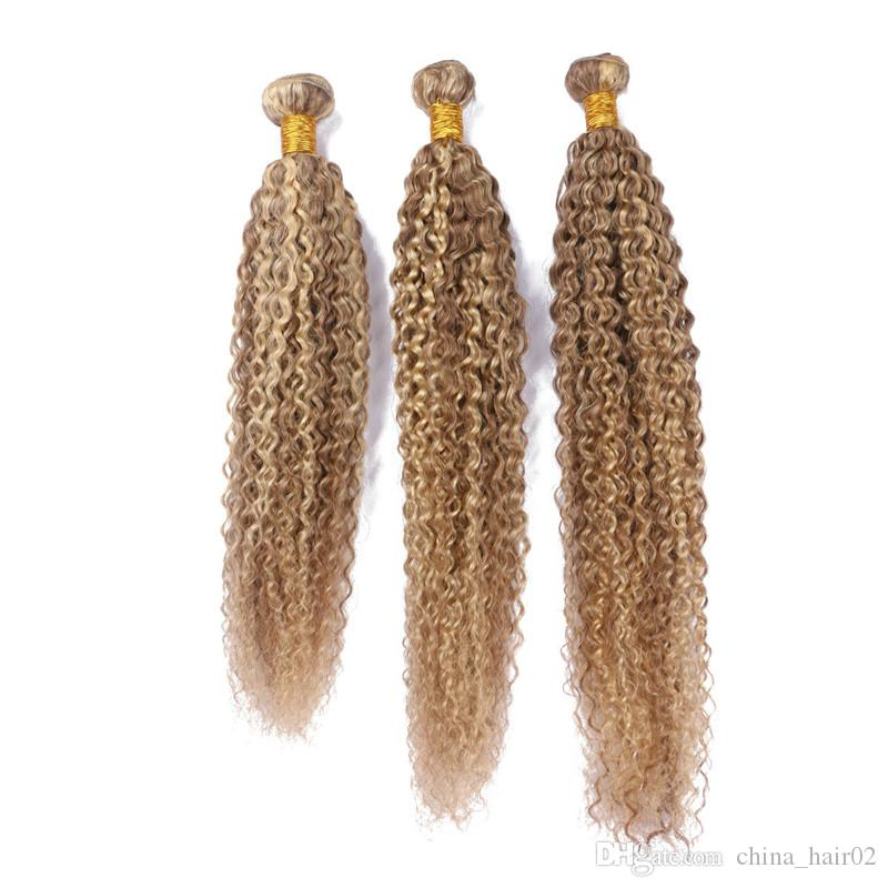 Virgin Peruvian Piano Color Human Hair Weave Bundles Kinky Curly #27/613 Piano Mixed Human Hair Extensions Two Tone Ombre Hair Bundle Deals