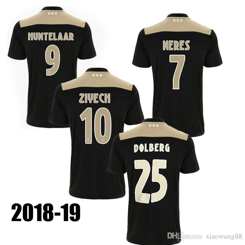 Acquista 18 19 Ajax Maglia Da Calcio Fuori Casa Nera 2018 2019 Ajax NERES HUNTELAAR SCHONE Magliette Da Calcio Thailand Qualità Spedizione Gratuita A ...