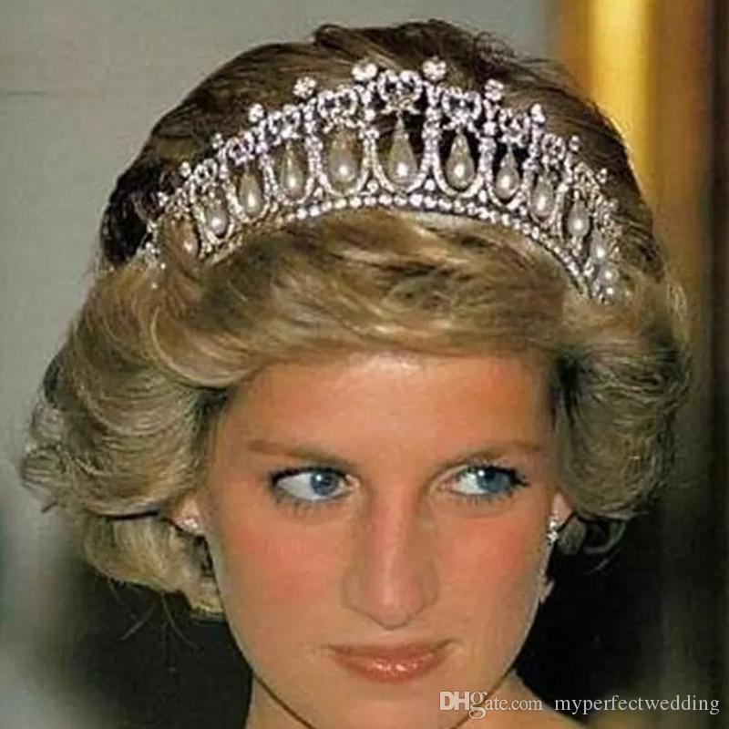 Free Shipping Royal Princess Diana Same ABS Pearl Crown Crystal Tiara Bridal Jewelry Wedding Accessories High Quality Real Photos Classic