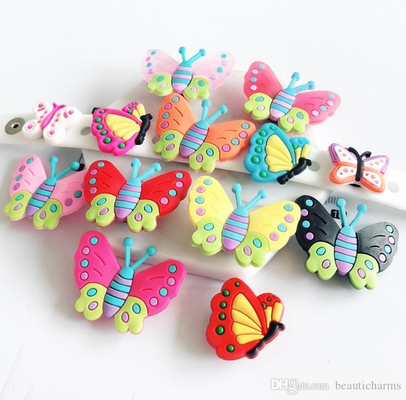 10PCS PVC Butterfly Shoe Charms Soft decoration accessories Fit Kid's Cross Shoes, Cross Bracelets, Shoe Accessories, Children gift