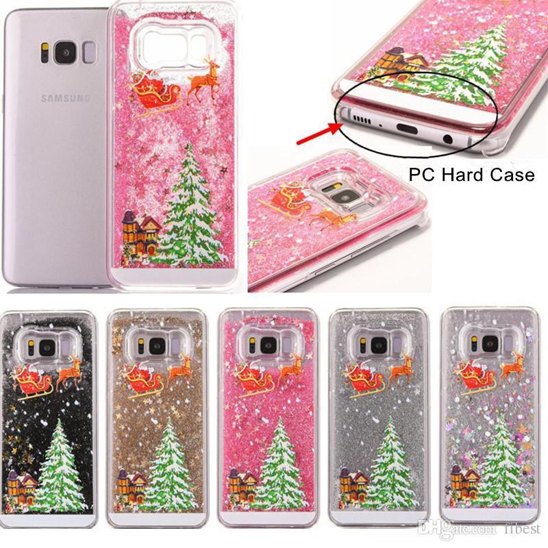 Christmas Phone Case For iPhone X 6 6s 8 Plus 5s Samsung Galaxy S6 Edge Glitter Stars Liquid Quicksand Hard Phone Case Cover