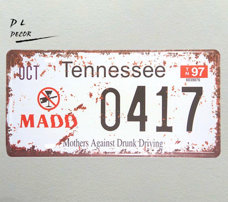DL-OCT TENNESSEE 0417 placa de Licença Do Vintage Sinais De Bar Bar pub Wall Decor Retro Poster Metal