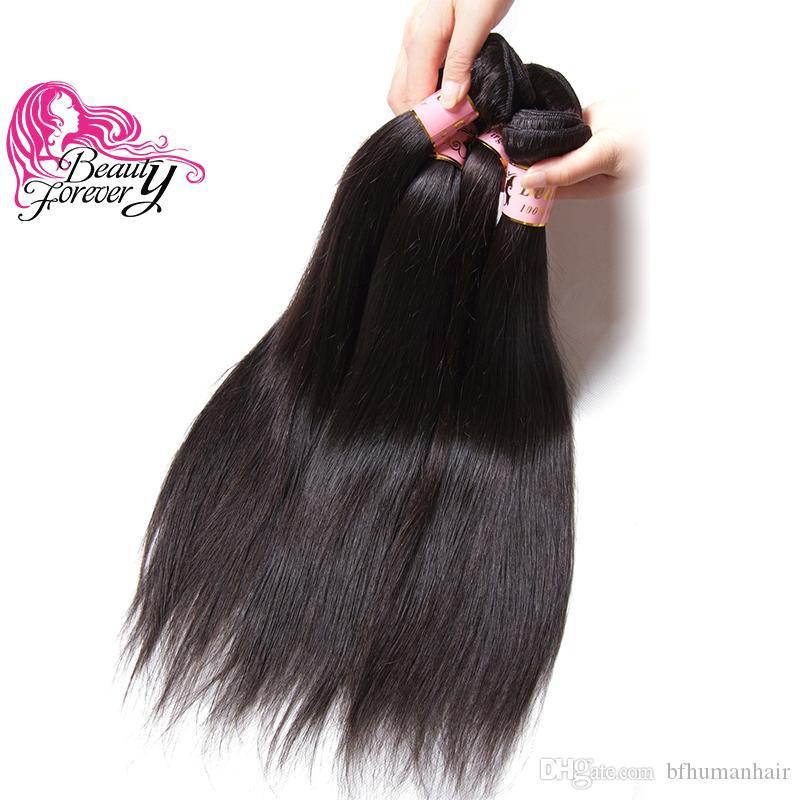 Güzellik Sonsuza Hint Ipek Düz 8-30 inç İnsan Saç Dokuma İşlenmemiş 8A Saç Uzatma 4 Demetleri Doğal Renk Saç Demetleri Toptan