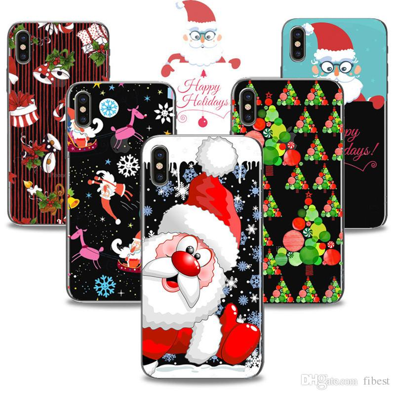 Christmas Phone Case For Iphone 6 6s 7 8 Plus 5s 5c X Santa Claus Soft Tpu Painted Transparent Cases Back Cover Free Cell Phone Cases Leather Cell Phone Case From Fibest 1 15 Dhgate Com