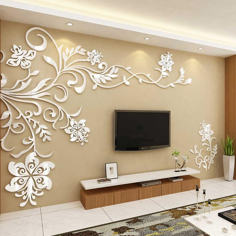 Acrylic Wall Stickers Wonderful TV Background Decoration Flowers Acrylic  Wall Sticker Best Home Decor Living Room Decoration Big Wall Decals Big  Wall ...