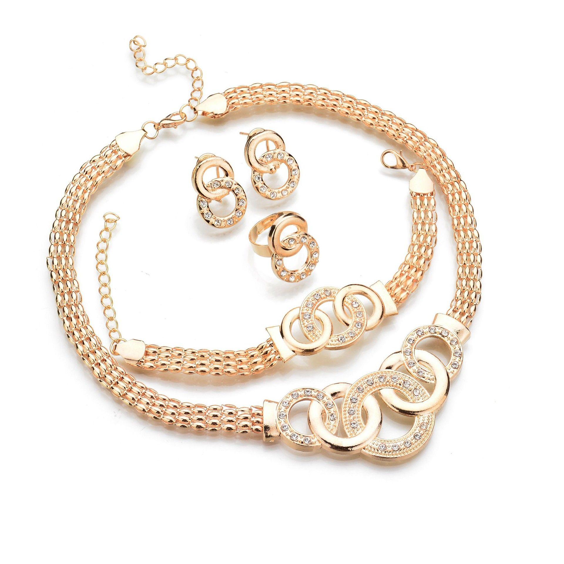 позолоченные серьги ожерелье браслет кольцо 4 шт браслеты