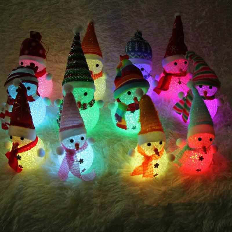 Вспышка лампы светящиеся частицы Рождество Снеговик красочные ночник Рождественский подарок подарочные игрушки оптом