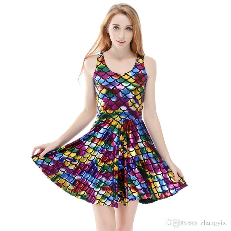الجملة الحرة الشحن الصيف بالإضافة إلى حجم 4XL إمرأة 3D الطباعة الرقمية زهرة زرقاء الرياضيات حورية البحر لامعة اللون أكمام فستان مثير