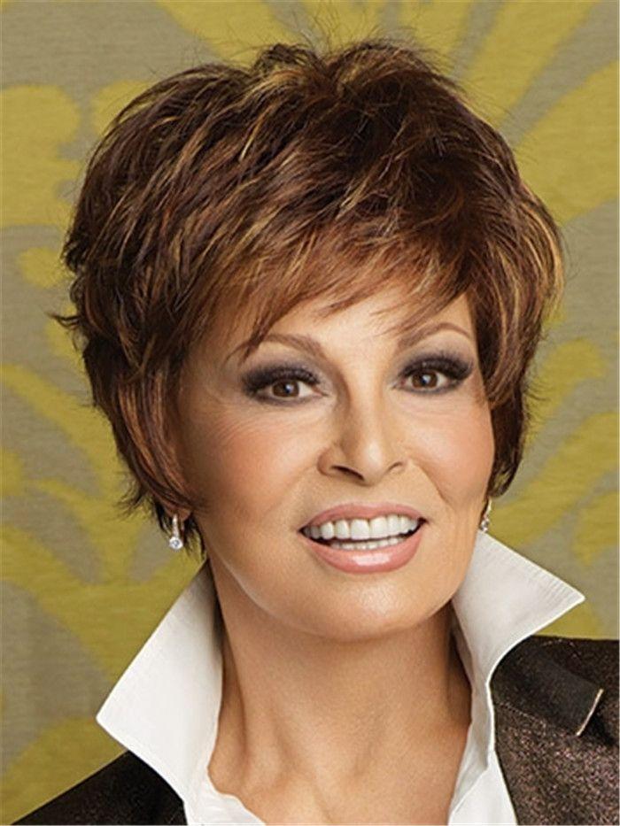Perruque de cheveux mélangés marron avec bang sur le côté