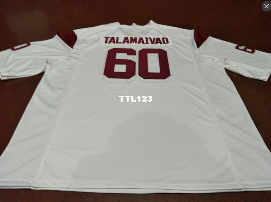 BON MARCHÉ Hommes # 60 rouge blanc Viane Talamaivao USC Troyens Alumni College Jersey S-4XLou personnalisé jersey de nom ou de numéro