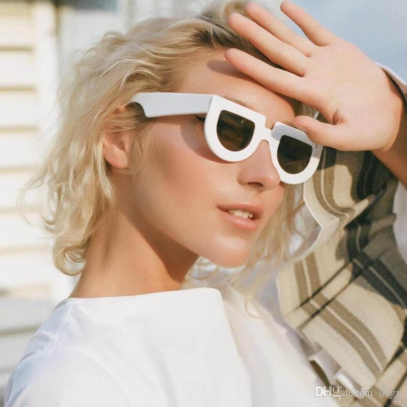 DSGN CO. Livraison Gratuite Plat Top Lunettes De Soleil Pour Femmes Vintage Rétro Semi Ronde Mode Femme Lunettes 8 Couleur UV400