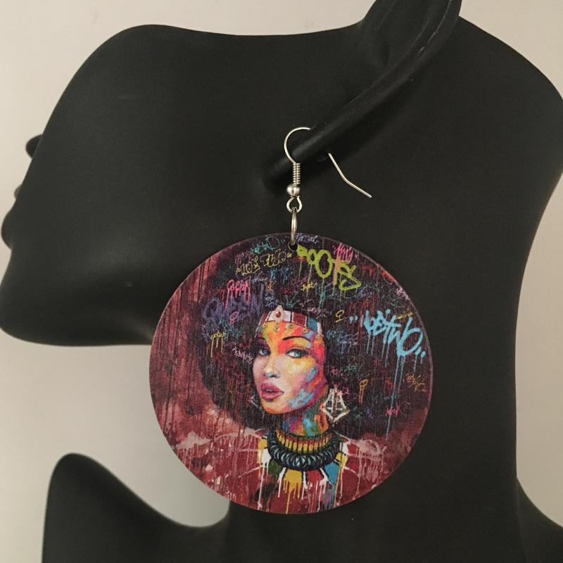 5 çift / grup Baskı Afrikalı-Amerikalı Kadın Ahşap Küpe
