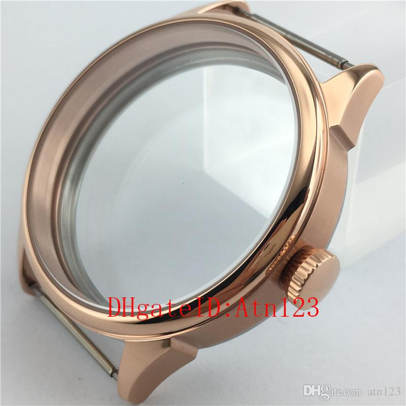 42mm Rose Gold 316L Stainless Steel Wrist Watch Case Fit ETA 6497/6498 Seagull ST3600/3620 Movement Wristwatch Case P640-1#