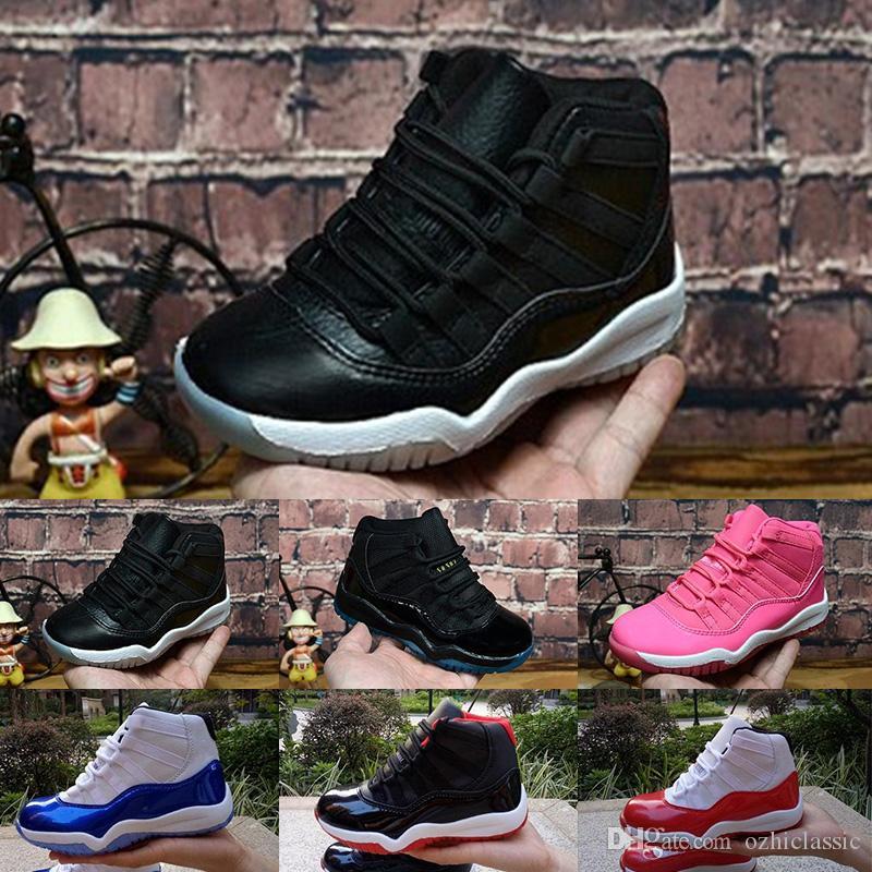 Nike Air Jordan 1 6 11 13 Bred XI 11S Enfants Chaussure De Basket-ball Gym Rouge Infantile Enfants Enfant En Bas Âge Gamma Bleu Concord 11 formateurs garçon fille tn baskets Space Jam