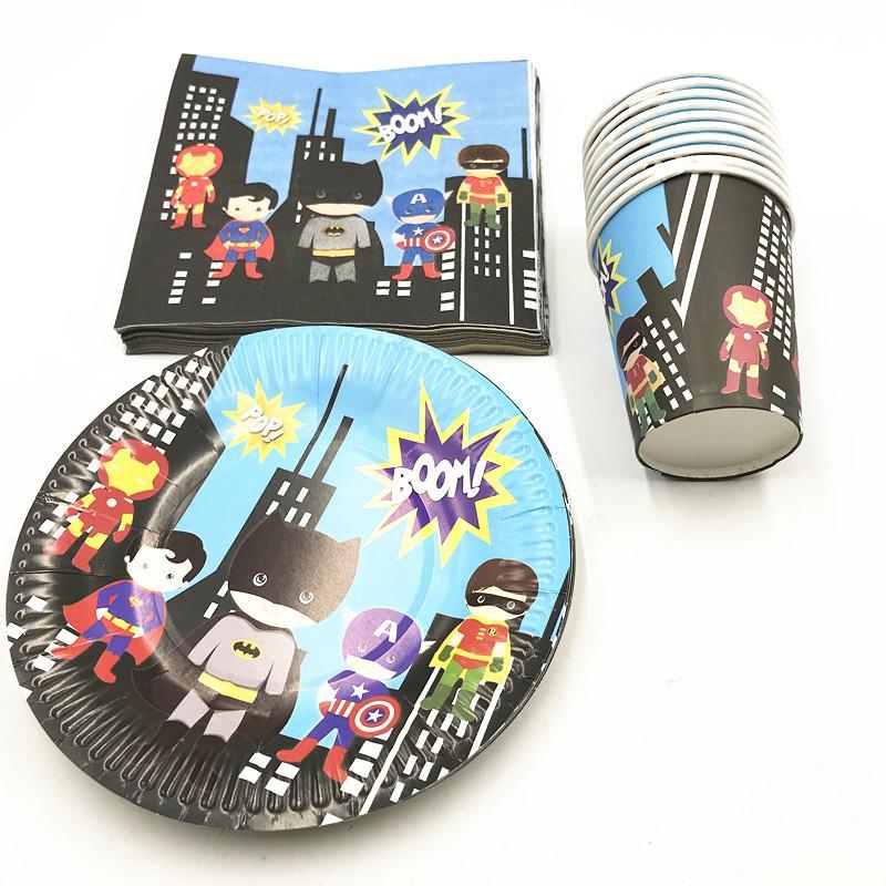 60 unids / lote superhéroe partido desechable conjunto fiesta de cumpleaños suministros placas de superhéroe tazas servilletas 20personas uso