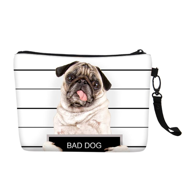 Fashion Cute Dog Customized Prints Women Portable Cosmetic Bag Canvas Toiletry Makeup Case Daily Storage Clutch Purse Girls Gift