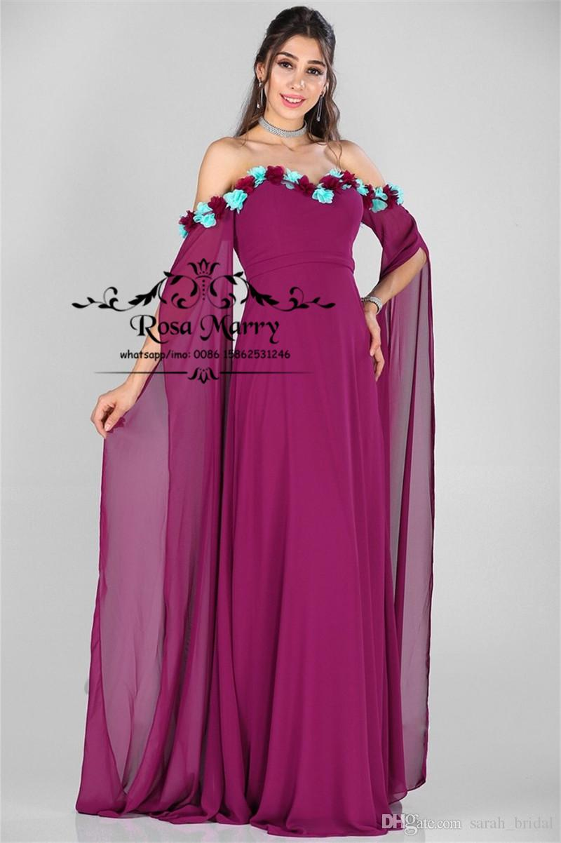 Arabic Kaftan 2019 Plus Size Prom Dresses A Line Off Shoulder Long Sleeves 3D Floral Cheap Chiffon African Girls Formal Evening Party Gowns