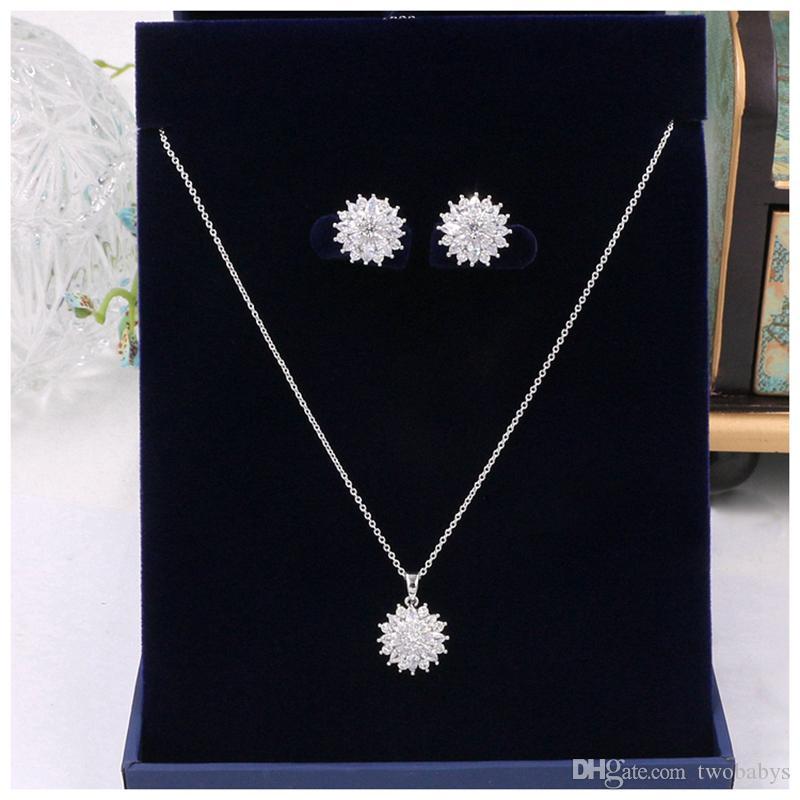 Wedding Flower Pendant Earring Jewelry Set Zircon Shining Prom Pageant Necklace and Earring Set CZ Bride Jewelry Set
