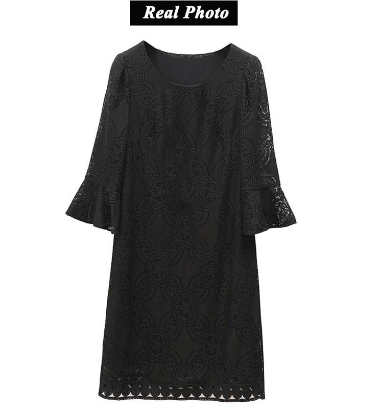 New Women Dress Summer Casual Hollow Lace Dresses Ladies Half Sleeve Vestidos Mujer Dress Plus Size White Robe Femme Mode 2018 (11)