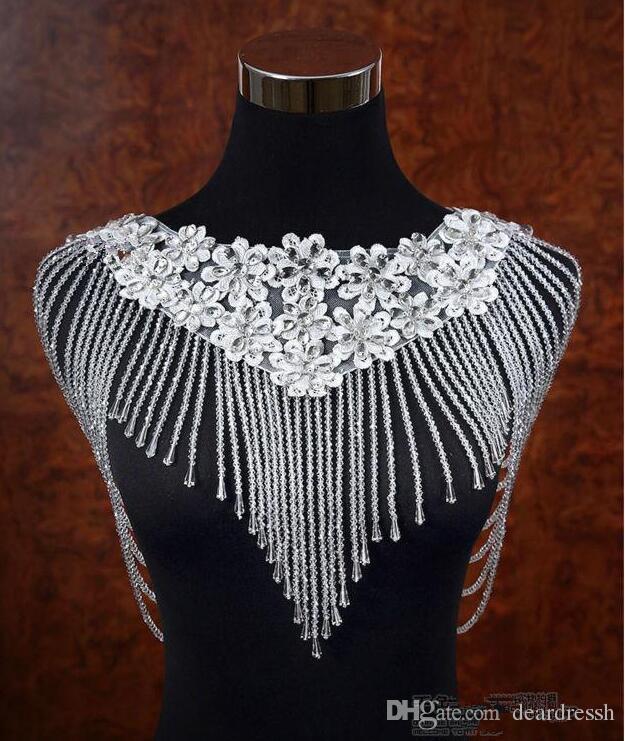 2019 Luxuriöse Bling Bling Crystal Strass Braut Wraps Lace Appliques Perlen Hochzeit Schal Jacke Bolero Jacke für Hochzeitszubehör