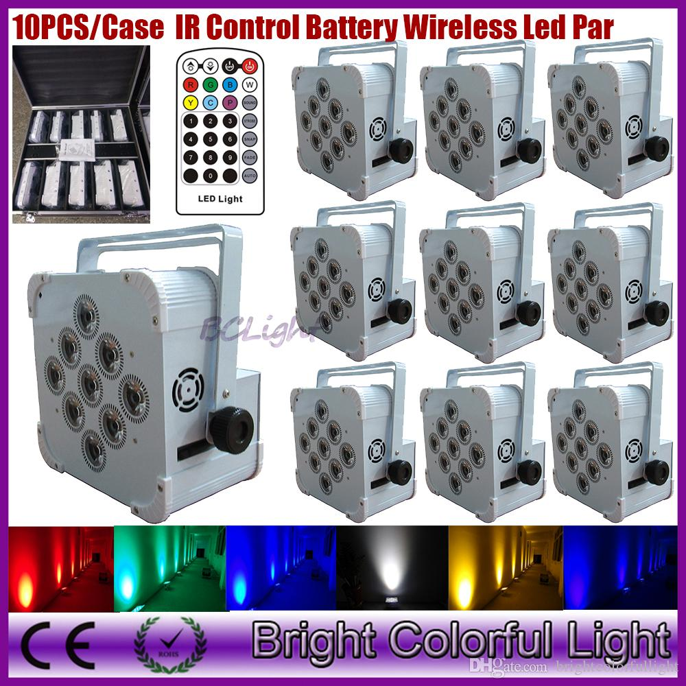 Charging Roadcase 10IN1 Packing WiFi Wireless DMX & Battery Powered Flat LED Par Light 9x18W Bright RGBWA UV 6 IN 1 Uplights