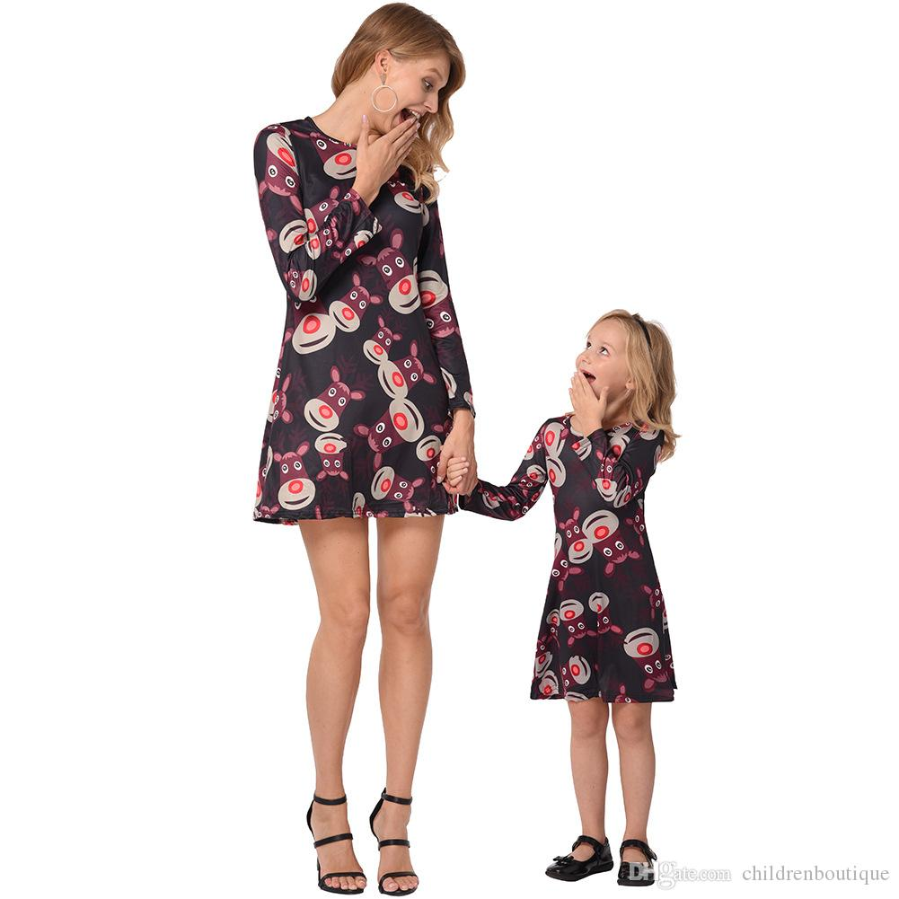 Christmas Dresses Mommy And Me Family Matching Clothes Mother And Daughter Matching Dresses Christmas Deer Head Printed Family Look 3Colors
