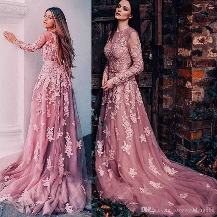 Heißer Verkauf Sheer Long Sleeves Prom Kleider Spitze Applique Tüll Sexy Backless Arabisch Party Formale Kleider Kleid Abendgarderobe