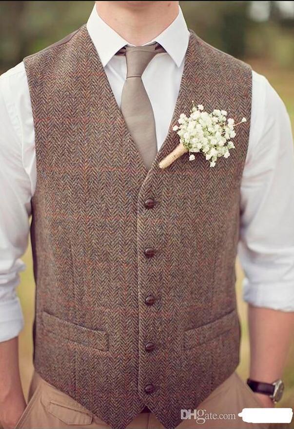 2019 Vintage Brown Tweed Vest Lana Spina a spina di pesce Gilet British Style Mens Suit Gilet Slim Fit Mens Dress Vest Gilet nuziale personalizzato