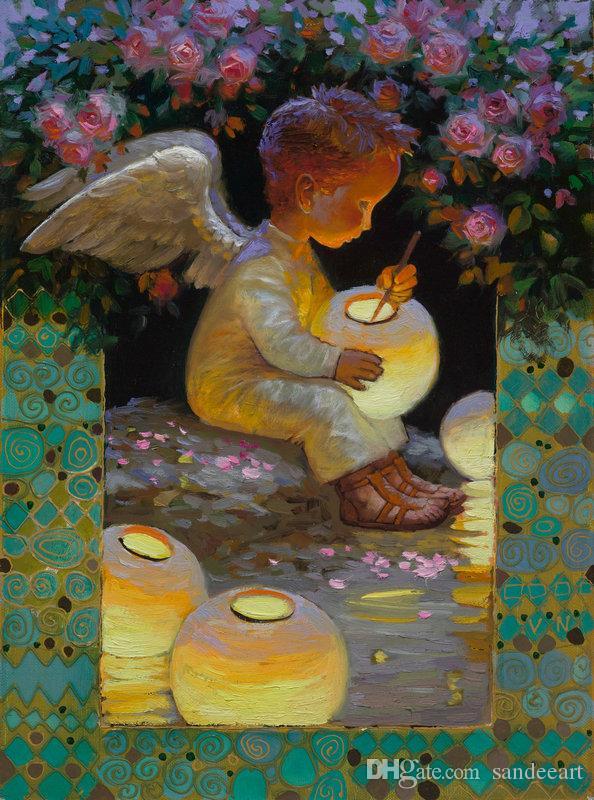 Victor Nizovtsev Peinture à l'huile Rose Garden Ange Art Reproduction Toile d'artiste moderne mur art Maison d'art pour salon décoration intérieure VN10